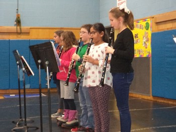 Clarinet players at the February community assembly