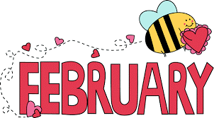 "Cartoon bee with text that reads ""February"""