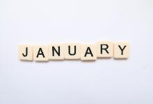 January spelled in blocks