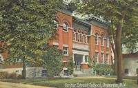 """Color photograph showing front of building, with text, """"Center Street School, Oneonta, N.Y."""""""