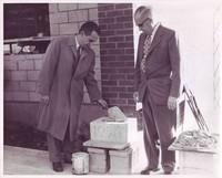 School Board presidents with Valleyview cornerstone, 1956