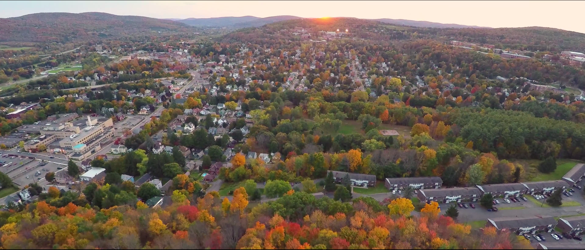 Aerial view of the city of Oneonta