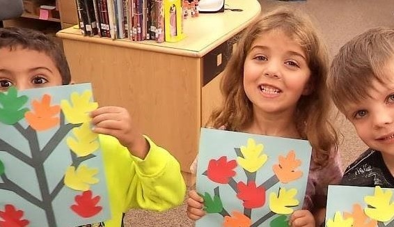 Students Make Collage Art Trees for Fall
