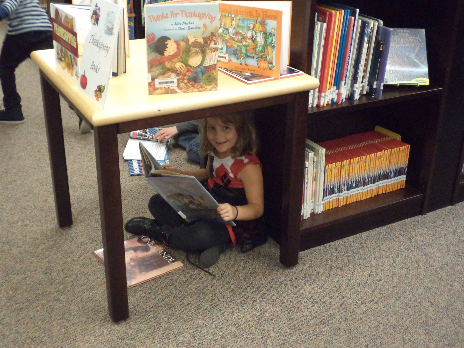 Reading under a table