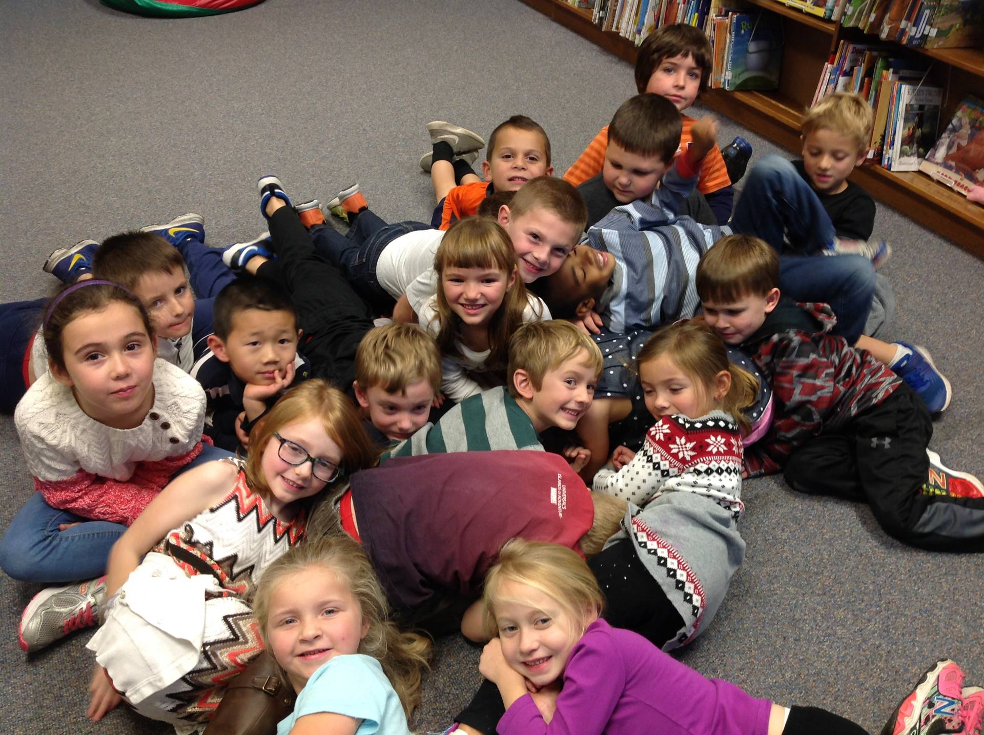 Kindergarten pile up like snakes do when they hibernate in winter