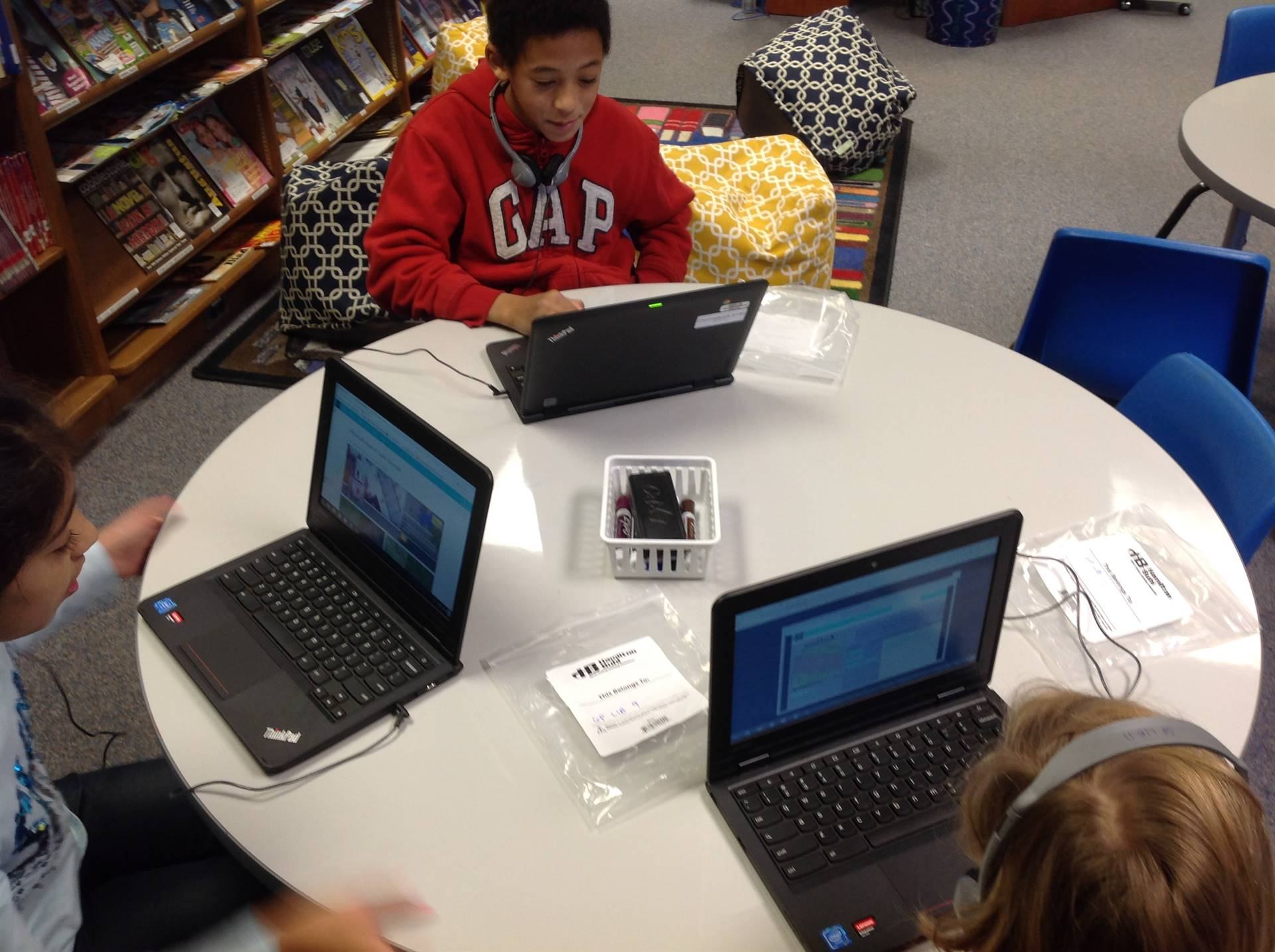 Students on Chromebooks participating in the Hour of Code