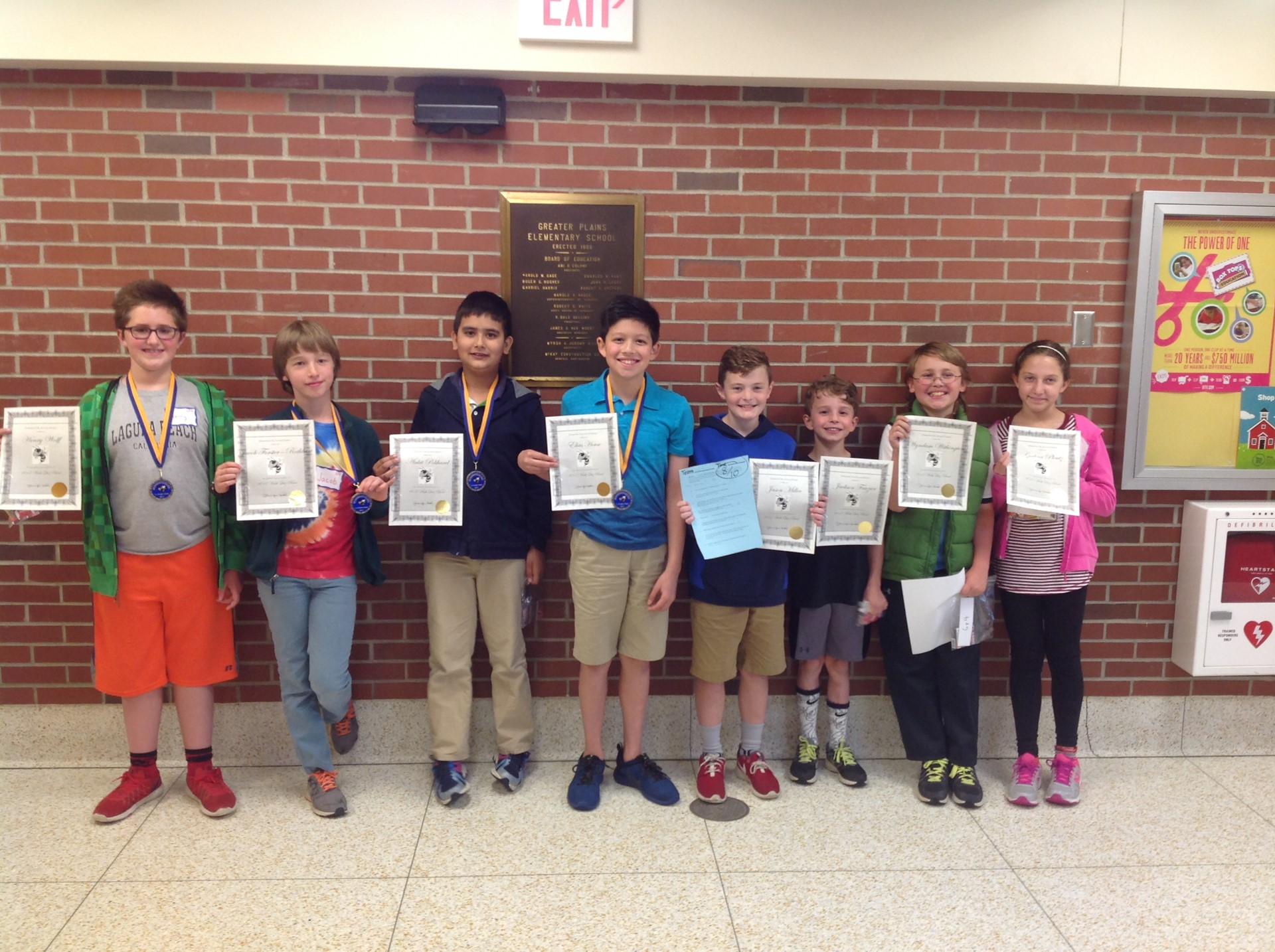 Fifth and fourth grade Math Bowl Participants
