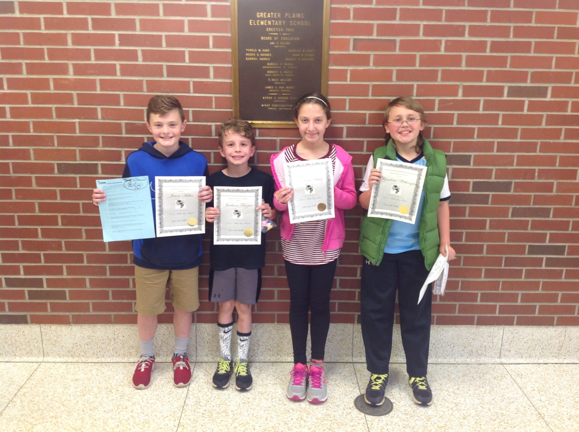 Fourth grade Math Bowl Participants