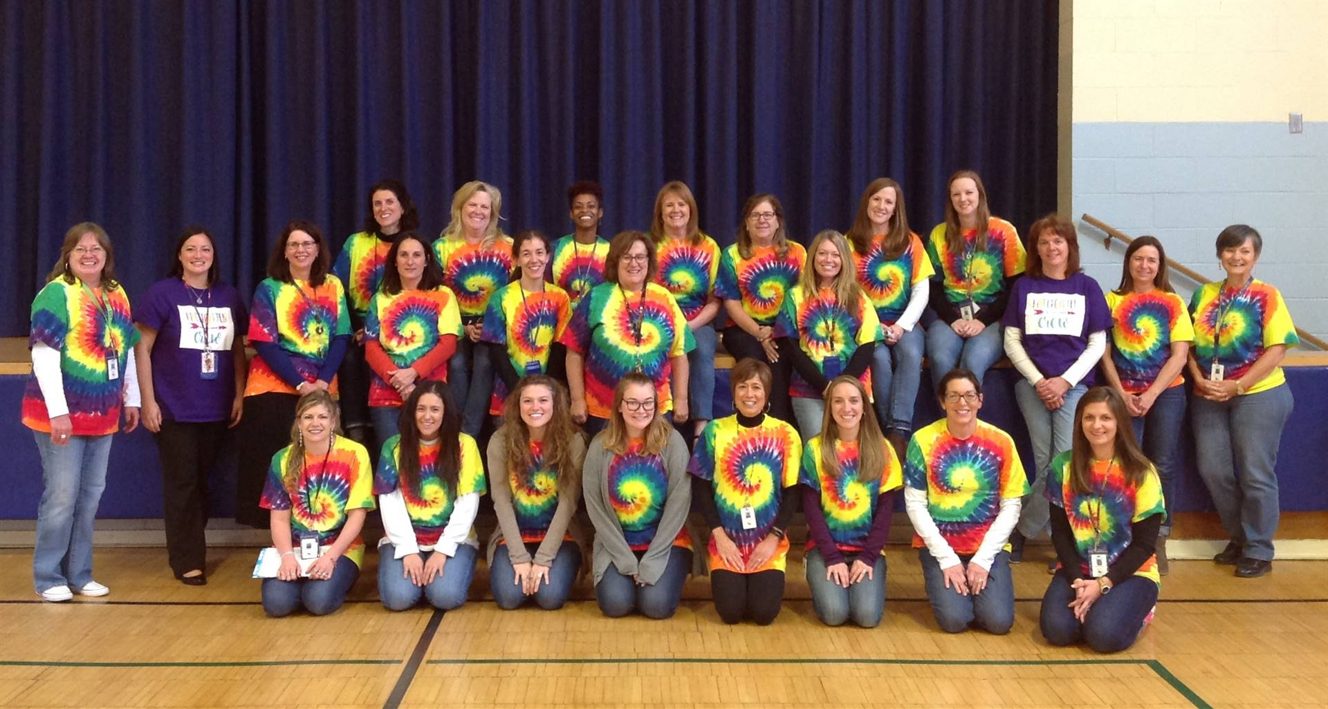 GP Staff Wearing Tie-Dyed T-Shirts