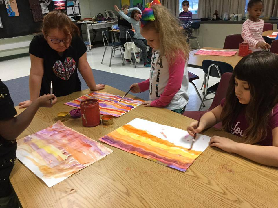 Students work on art projects