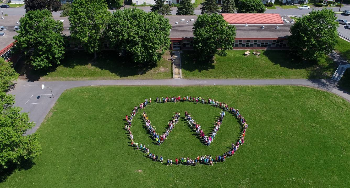 Drone photo of school, staff & students