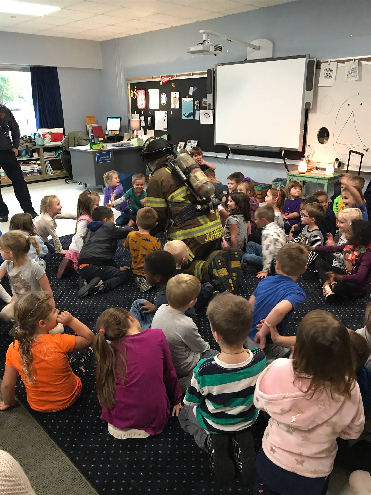 Kindergarten gets a visit from firefighters