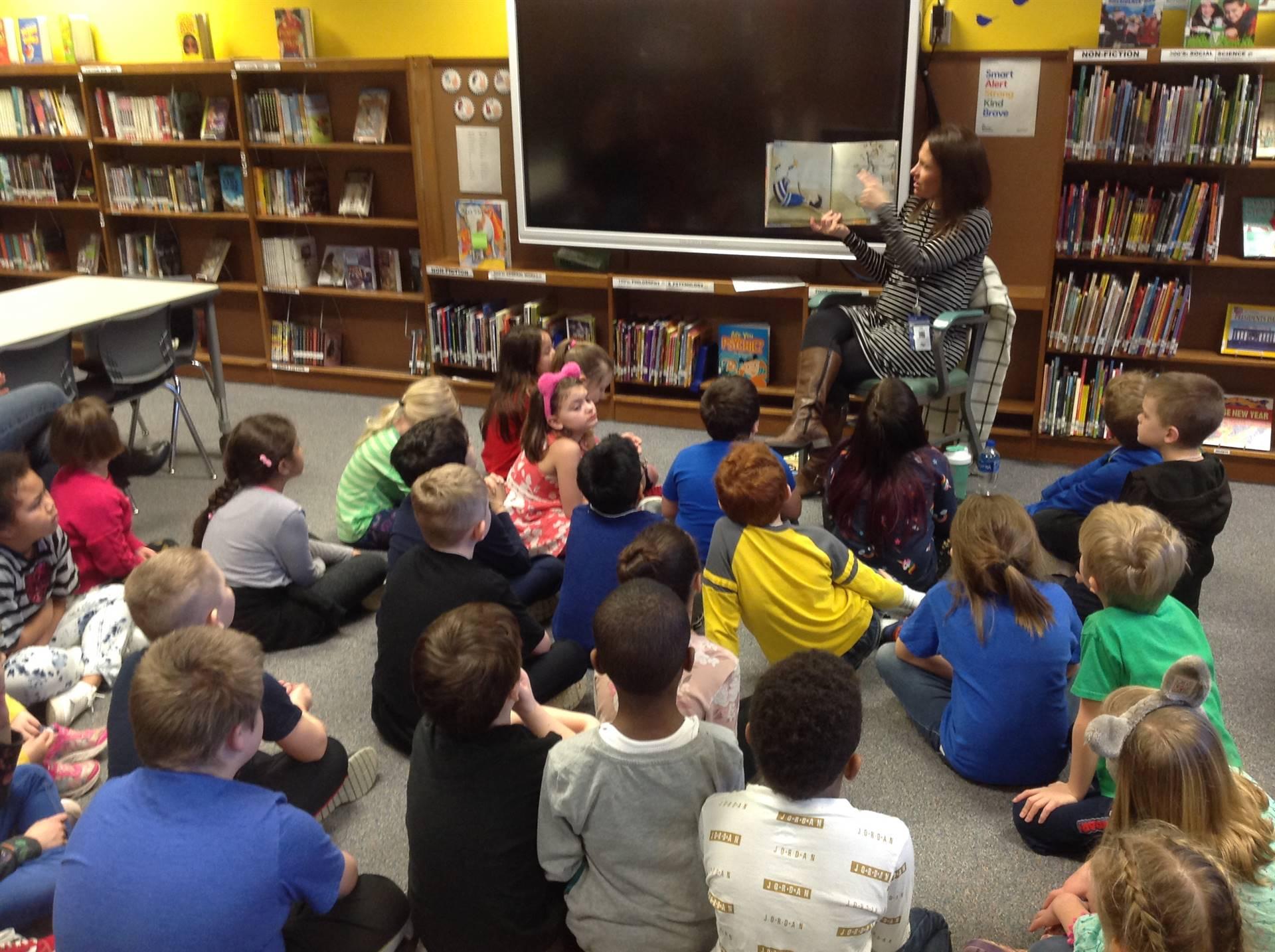 Mrs. Hamilton reading at Caldecott Party