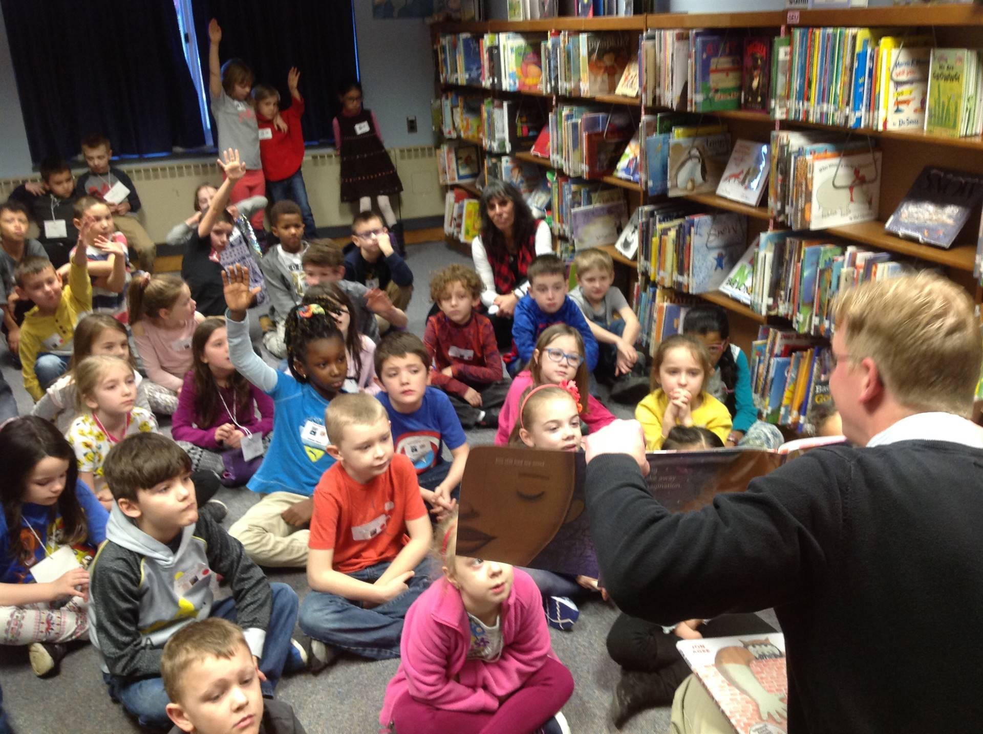 Mr. Parmerter reading at Caldecott Party