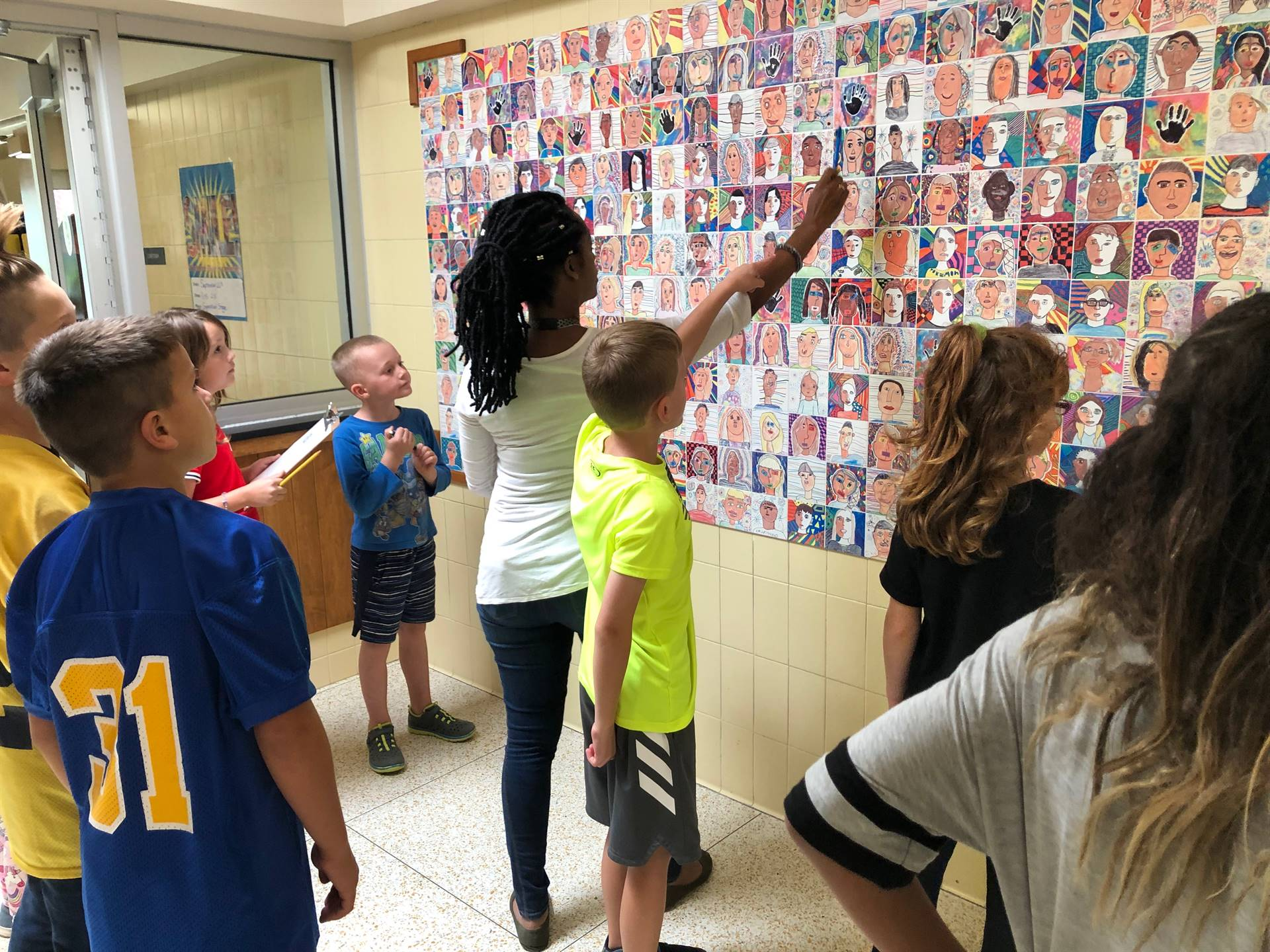 Counting faces for our school-wide scavenger hunt!