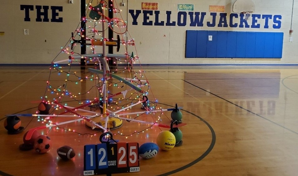 "Mr. Nealis' ""Fitmas Tree"" in the OMS Gym"