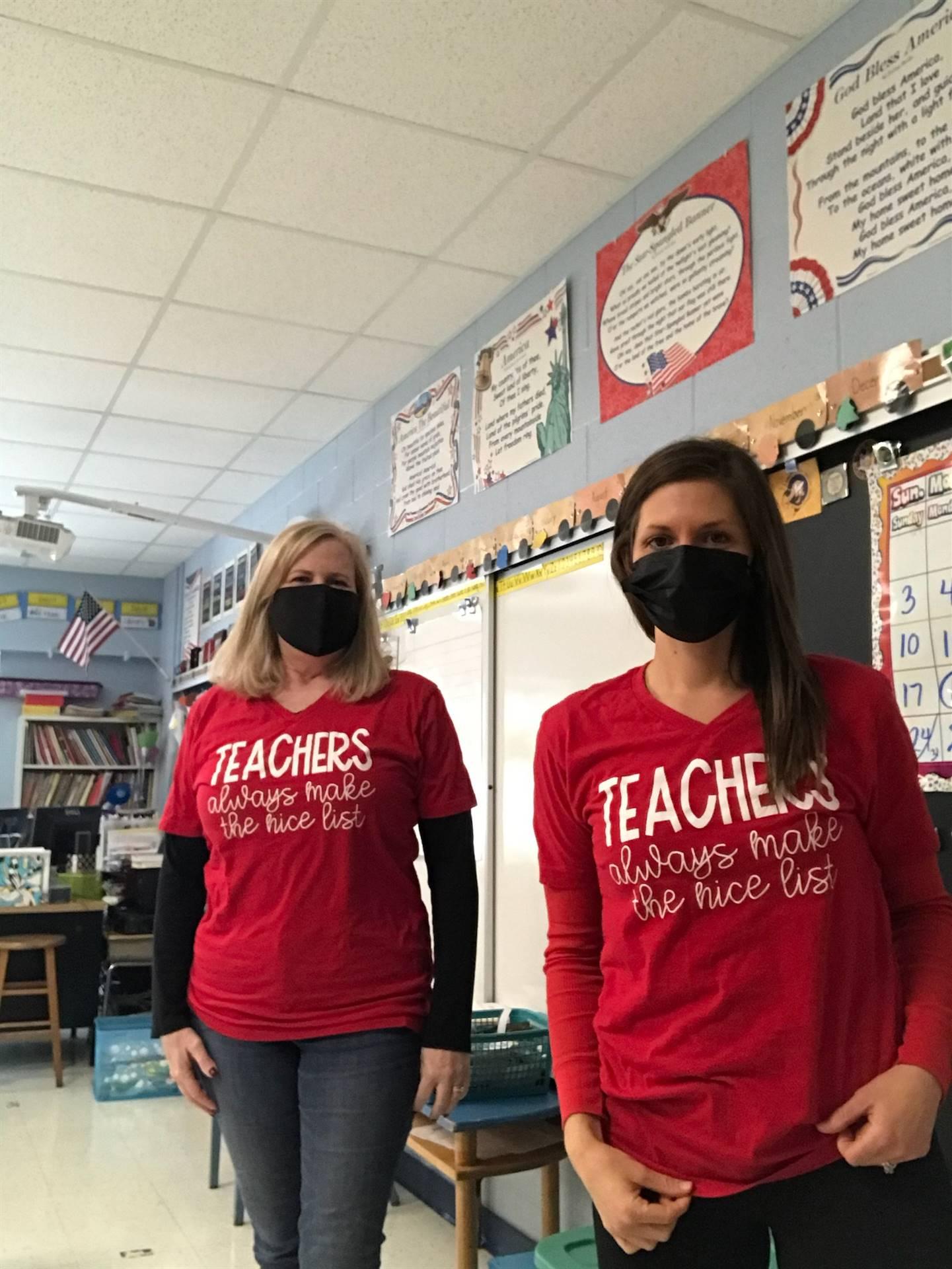 Teachers in matching shirts