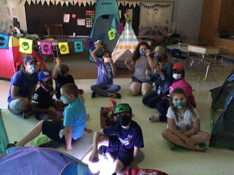 "students having ""camping day"""